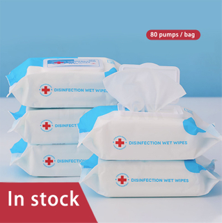 Wholesale 80pcs antibacterial 75% alcohol pad disinfectant wet wipes